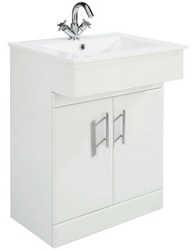 Related Lauren Dove High Gloss White 610mm Vanity Unit And Basin - VTY036