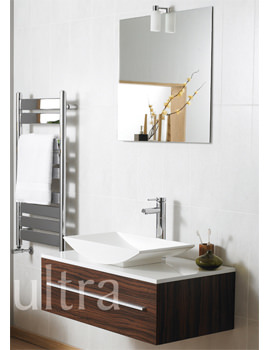 Ultra Equity Walnut Wall Hung Basin Unit And Elan Mirror With Light
