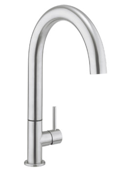 Crosswater Cucina Tube Stainless Steel Round Side Lever Kitchen Mixer Tap