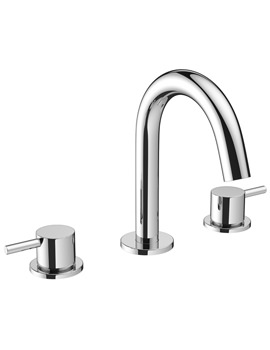 Mike Pro 3 Hole Deck Mounted Chrome Basin Mixer Tap