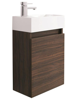 Ultra Zone Compact Walnut Wall Mounted Cabinet And Basin 400mm