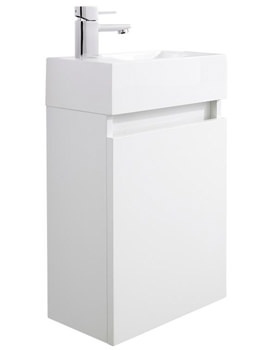 Ultra Zone Compact White Wall Mounted Cabinet And Basin 400mm