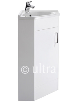 Ultra White Floor Mounted Corner Unit And Basin 555mm - CU001