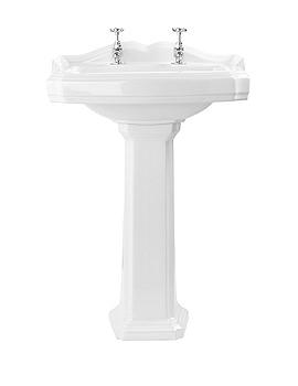 Lauren Legend 580mm 2 Tap Hole Ceramic Basin With Pedestal