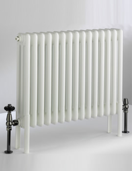 DQ Heating Peta White 2 Column 592mm High Radiator - 3 To 50 Sections