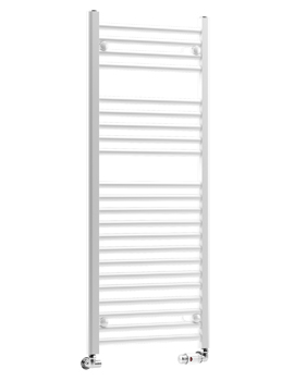 Metro 600 x 1200mm Straight Heated Towel Rail - White