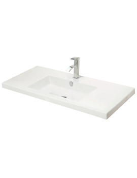 1005mm Rectangular Bowl White Ceramic Basin - 113W1