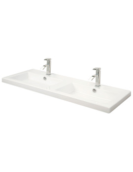 1210mm Rectangular Double Bowl Ceramic Basin - 115W1