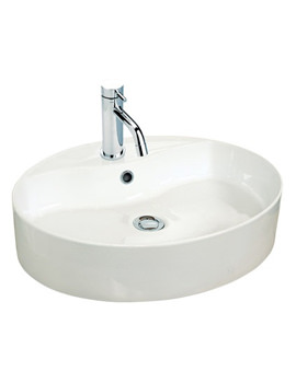 550mm Oval Counter Top Ceramic Basin - 173W1