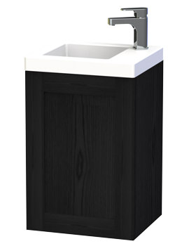 London 40 Black Wall Hung Basin Vanity Unit With Door