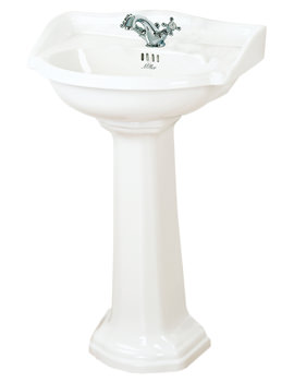 Traditional 535mm 1 Tap Hole Ceramic Basin And Full Pedestal