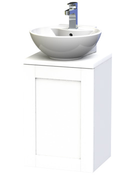 Miller London 40 White Wall Hung Basin Vanity Unit With Door And Worktop