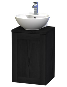 London 40 Black Wall Hung Basin Vanity Unit With Door And Worktop