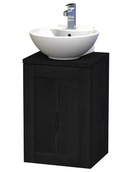 London 40 Black Wall Hung Basin Vanity Unit With Door And Worktop