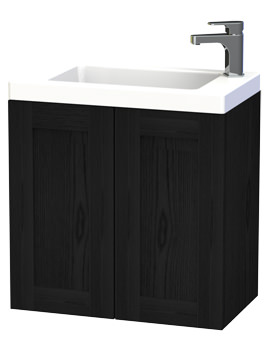 London 60 Black Double Door Wall Hung Basin Vanity Unit