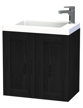 London 60 Black Double Door Wall Hung Basin Vanity Unit