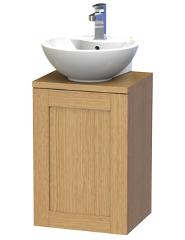 London 40 Oak Wall Hung Basin Vanity Unit With Door And Worktop