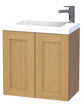 Miller London 60 Oak Double Door Wall Hung Basin Vanity Unit