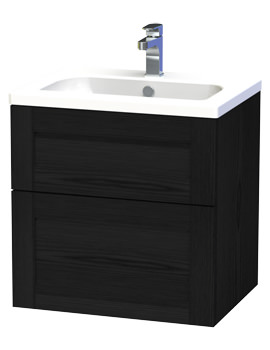 London 60 Black Two Drawer Wall Hung Vanity Unit - 588-4