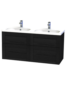 London 120 Black Four Drawer Wall Hung Vanity Unit - 566-4