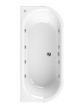 Aquaestil Metauro 1 Bath To Wall 1800 x 800mm 8 Jets Whirlpool Bath