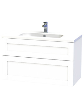 Miller London 100 White Two Drawer Wall Hung Vanity Unit - 598-2