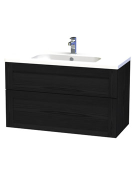 London 100 Black Two Drawer Wall Hung Vanity Unit - 598-4
