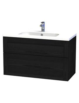 London 100 Black Two Drawer Wall Hung Vanity Unit - 598-4