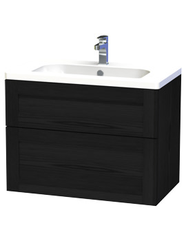 London 80 Black Two Drawer Wall Hung Vanity Unit - 589-4