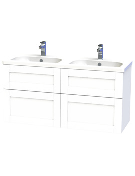 Miller London 120 White Four Drawer Wall Hung Vanity Unit - 566-2