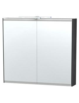 London 80 Black Double Door Mirror Cabinet 790 x 700mm