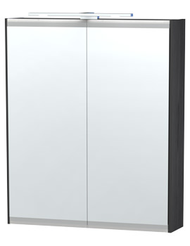 London 60 Black Double Door Mirror Cabinet 590 x 700mm