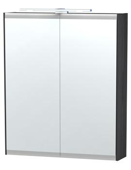 London 60 Black Double Door Mirror Cabinet 590 x 700mm