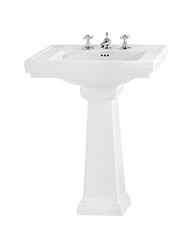 Imperial Astoria Deco 640mm Tall Large Basin With Tall Pedestal White