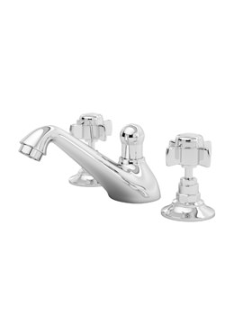 Beo Traditional 3 Hole Deck Mounted Basin Mixer Tap With Pop-Up Waste