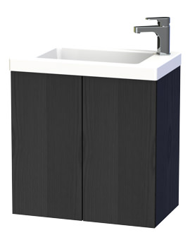 New York 60 Black Double Door Wall Hung Basin Vanity Unit
