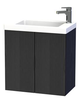 New York 60 Black Double Door Wall Hung Basin Vanity Unit