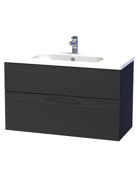 Miller New York 100 Black Two Drawer Wall Hung Vanity Unit - 298-4