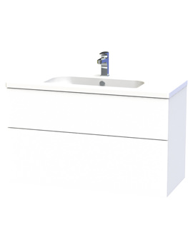 Miller New York 100 White Two Drawer Wall Hung Vanity Unit - 298-2