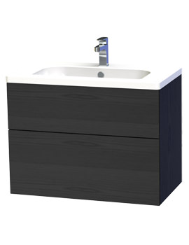 New York 80 Black Two Drawer Wall Hung Vanity Unit - 289-4