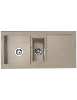 Rangemaster Cubix 1.5 Bowl Neostone Granite Oatmeal Kitchen Sink