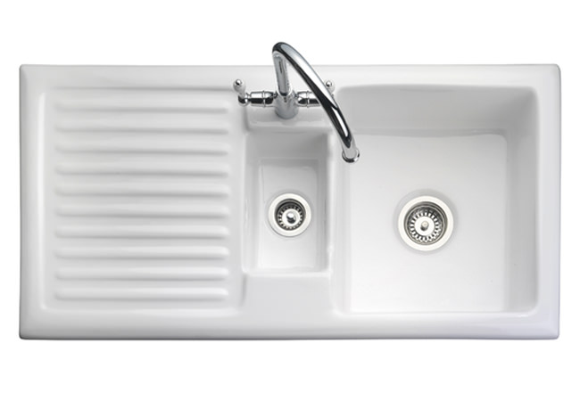 Ceramic Kitchen Sink With Drainer : ... of Rangemaster Rustique 1.5 Bowl Ceramic Kitchen Sink White LH Drainer