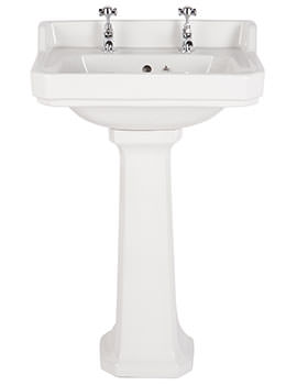 Balterley Ambience 500mm 2 Tap Hole Basin And Full Pedestal