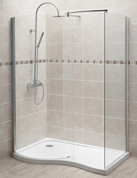 Curved Walk-In Shower Enclosure And Left Hand Tray 1400 x 906mm