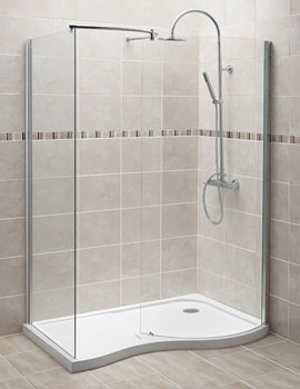Curved Walk-In Shower Enclosure And Right Hand Tray 1400 x 906mm