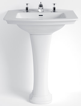 Heritage Blenheim 650mm 1 - 2 Or 3 Tapholes Basin And Full Pedestal