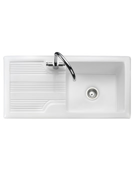 Portland 1.0 Bowl Ceramic Kitchen Sink White - CPL10101WH