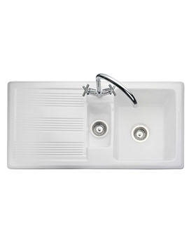 Portland 1.5 Bowl Ceramic Kitchen Sink White - CPL10102WH