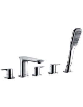 Urban 5 Hole Bath-Shower Mixer Tap With Handset And Hose