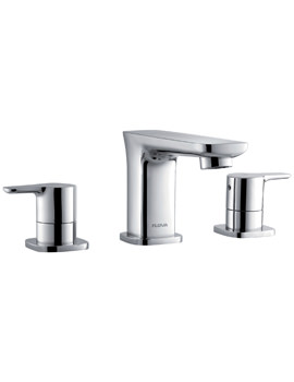 Urban 3 Hole Deck Mounted Basin Mixer Tap With Clicker Waste
